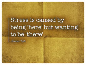 Stress is caused by being 'here' but wanting to be 'there'. -Eckhart ...
