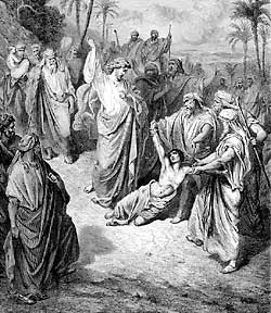 Jesus commands the evil spirit to come out of the boy and torment him ...