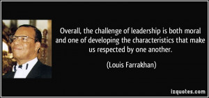 of leadership is both moral and one of developing the characteristics ...