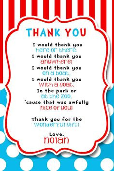 ... Seuss Inspired Invitation FREE thank you by DazzleExpressions, $15.00