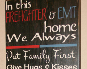 ... Distressed Wall Decor, Custom Wood Sign - Firefighter/EMT House Rules