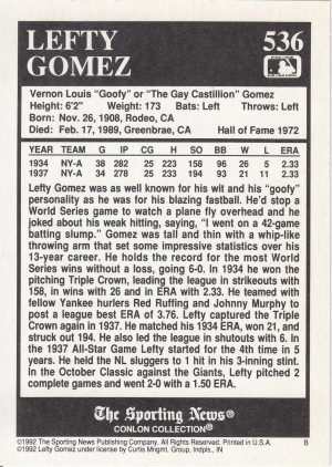 HOFer Left Gomez was born in Rodeo, California on this date in 1908.