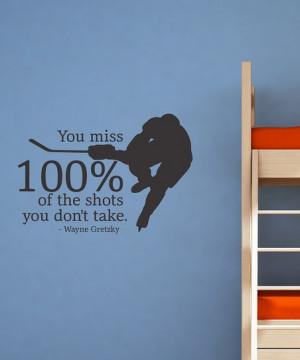 Black '100% Hockey' Wall Quote