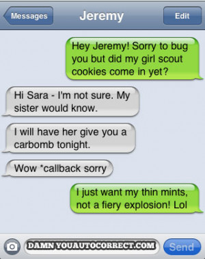 funny auto-correct texts - Girl Scout Cookies