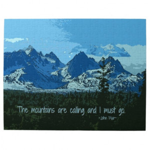 Mountain Peaks digital art - John Muir quote Jigsaw Puzzles