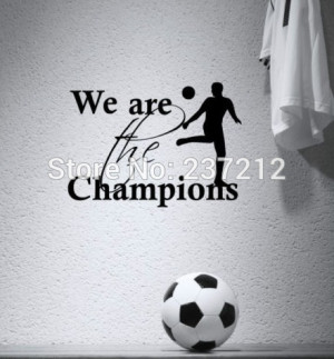 Free shipping FOOTBALL CHAMPIONS BOYS ROOM KIDS WALL QUOTE VINYL ART ...