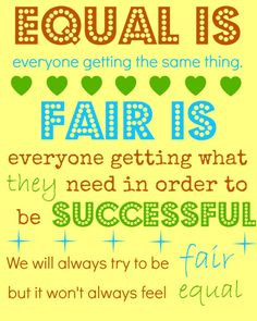 fair is not always equal...good way for the kids to understand this ...