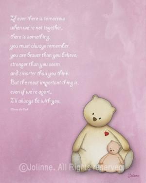 ... kids wall art, baby girl nursery art, Winnie the pooh quote, boy girl