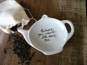 ... You Would Like Some Tea Jane Austen Quote Tea Bag Holder Gift Set