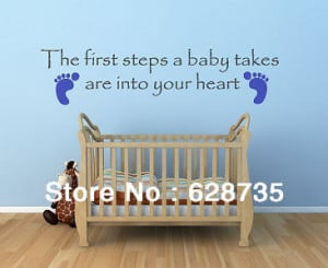 Babies First Steps Wall Sticker Quote Foot Prints Nursery Baby Shower ...