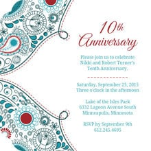 Paisley Red Anniversary 10th Anniversary Invite