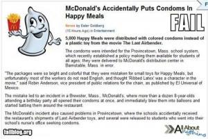 McDonalds ccidentaly puts condoms in happy meals – fail