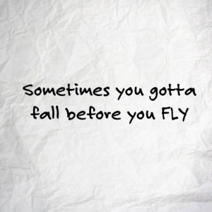 Sometimes you gotta fall before you FLY.