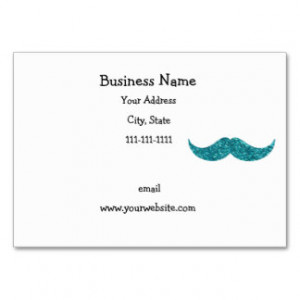 Turquoise glitter mustache business cards