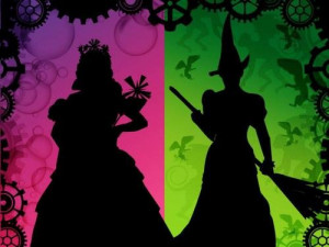 Silhouette of Glinda and Elphaba