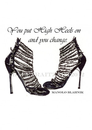 Manolo Blahnik High Heel Shoes Print from my original illustration and ...