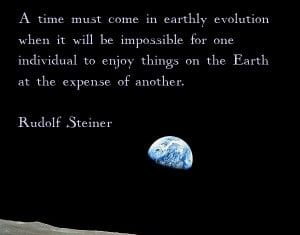 ... of the earth rising from NASA. Quotation from Rudolf Steiner