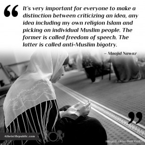 Difference between criticizing Islam and picking on individual Muslim