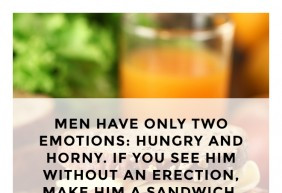 Men have only two emotions: hungry and horny. If you see him without ...