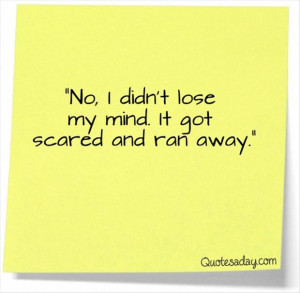 funny quotes, no i didnt loose my mind, it got scared and ran away