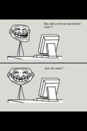 Troll face in front view
