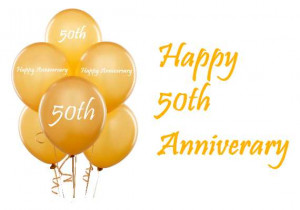 Happy 50th Anniversary Gold Balloons