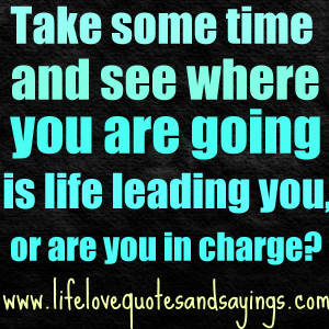 ... see where you are going… is life leading you, or are you in charge