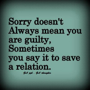 The real meaning of sorry ~ thought