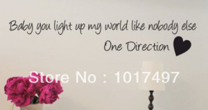 Free-shipping-wholesale-ONE-DIRECTION-wall-quotes-Baby-you-light-up-my ...