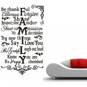 FAMILY QUOTE WALL ART LIVING ROOM VINYL MURAL DECOR STICKER HOME DECAL ...