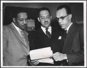 Three lawyers confer at the Supreme Court, 1953. Gelatin silver print ...