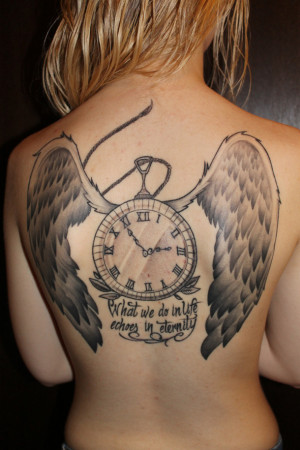 clock, quote, tattoo, wings