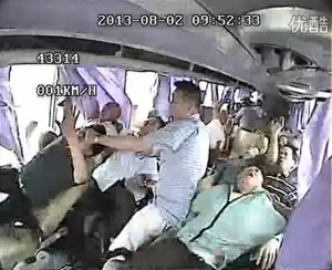 Chinese tour coach are thrown out of through the windows after the bus ...