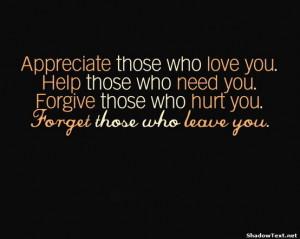 Appreciate. Help. Forgive. Forget.