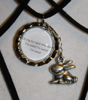 Alice in Wonderland White Rabbit 'I'm Late..' Quote Charm Necklace
