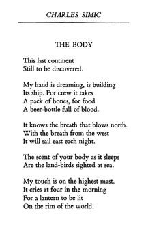 The Body, Charles Simic More