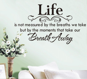 Life Breath Away exquisite flower vine wall stickers English poetry 40 ...