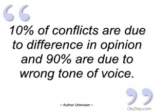 10% of conflicts are due to difference in author unknown