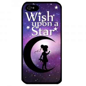 Cover for Iphone 5 Girl in moon Wish upon a star girly art cute quote ...