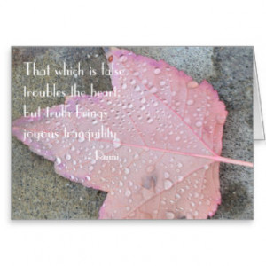 Rumi Quote Autumn Leaf Card