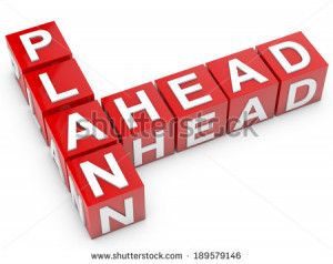 red Plan Ahead cubes over white background - stock photo
