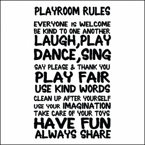 Children's Playroom Rules Wall Sticker Quote