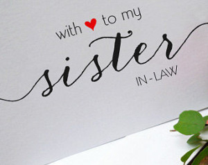 Sister in law Wedding Card - Future sister - in laws thank you card ...