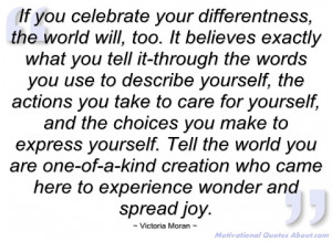 if you celebrate your differentness victoria moran
