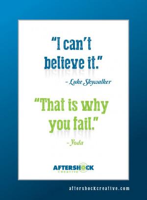 Luke Skywalker - Yoda #quotes #Believe