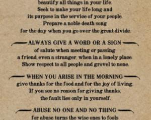 Chief Tecumseh Poem Act of Valor