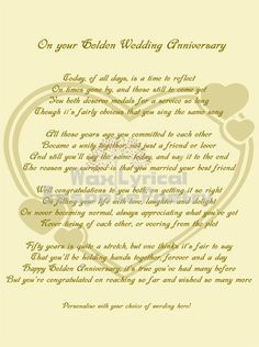 50th Wedding Anniversary Poems | Golden (50th) Wedding Anniversary ...