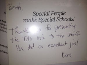 Thank you note from a principal.