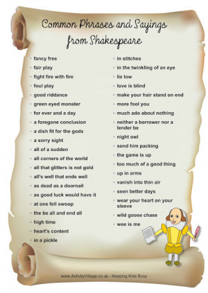 Common phrases and sayings from Shakespeare