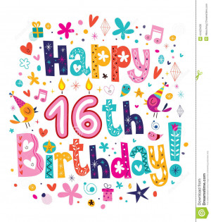 Happy 16th Birthday greeting card.